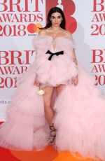 DUA LIPA at Brit Awards 2018 in London 02/21/2018
