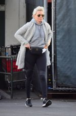 ELIZABETH BANKS Shows New Bleached Blonde Hair in Studio City 02/25/2018