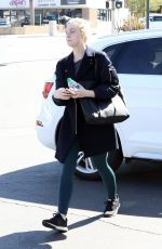 ELLE FANNING in Tights Out in Studio City 02/24/2018