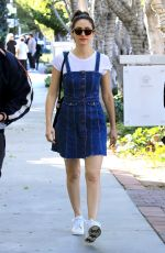 EMMY ROSSUM in Denim Dress Out Shopping in West Hollywood 02/23/2018
