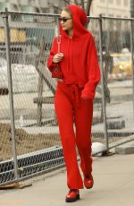 GIGI HADID All in Red Out Shopping in New York 02/17/2018