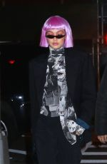GIGI HADID in a Colorful Wig Arrives at Her Home in New York 02/08/2018