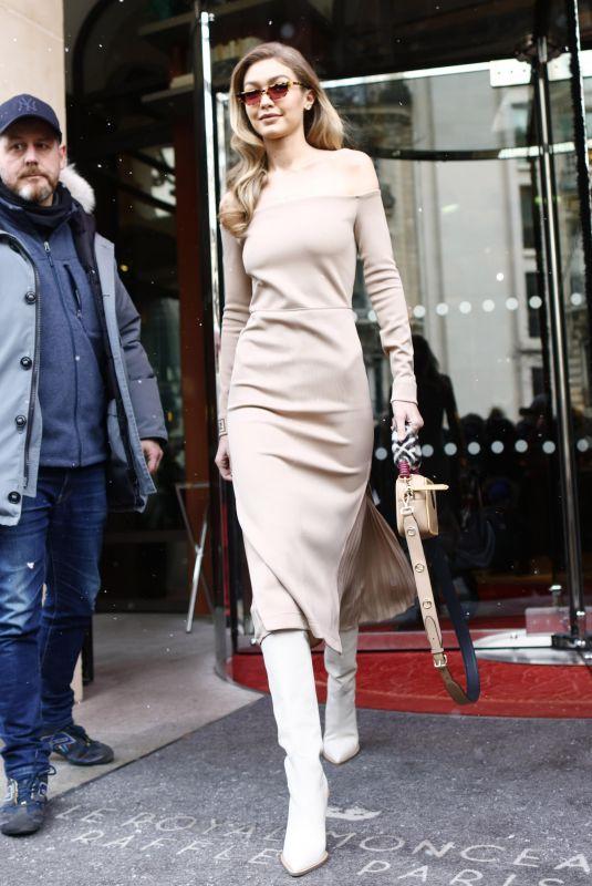 GIGI HADID Leave Le Royal Monceau Hotel in Paris 02/27/2018
