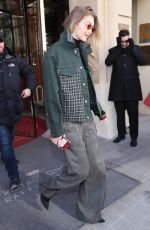 GIGI HADID Leaves Her Hotel in Paris 02/28/2018