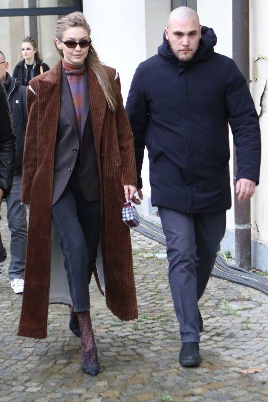 GIGI HADID Leaves Max Mara Fashion Show in Milan 02/22/2018