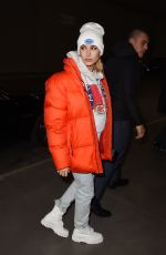 HAILEY BALDWIN Arrives at Tommy Hilfiger Fashion Show in Milan 02/25/2018