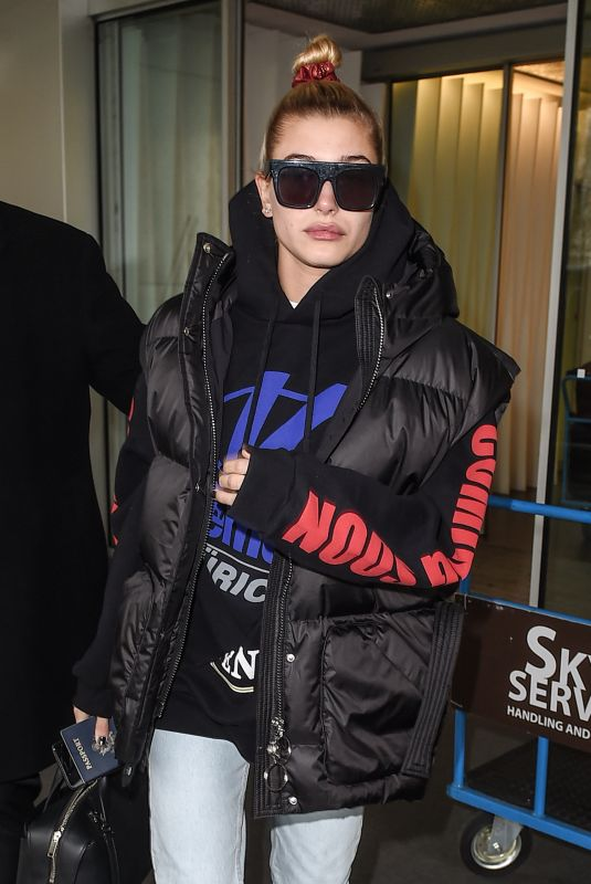 HAILEY BALDWIN at Linate Airport in Milan 02/23/2018