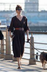 HELENA CHRISTENSEN Walks Her Dog Out in New York 02/22/2018
