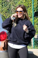 HILARY DUFF Arrives at a Hair Salon in Beverly Hills 02/09/2018