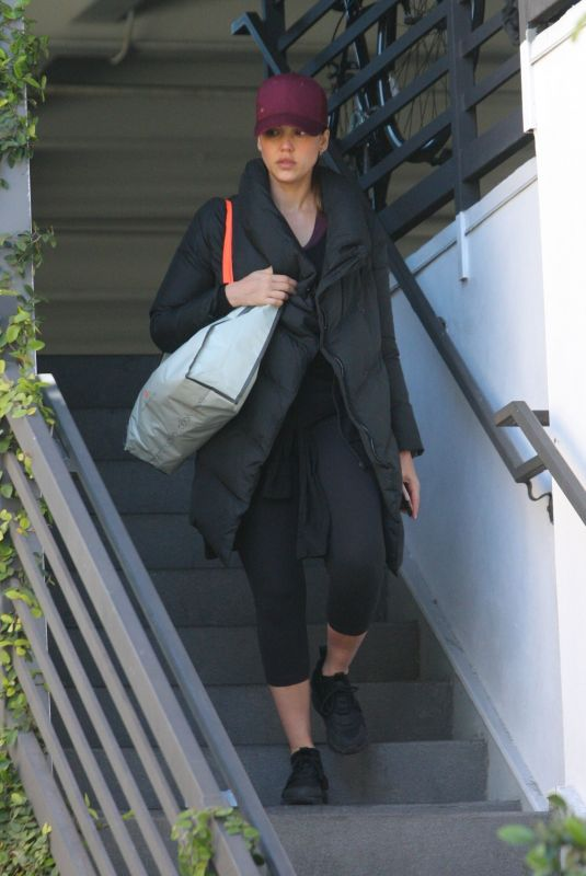 JESSICA ALBA Heading to a Gym in West Hollywood 02/24/2018