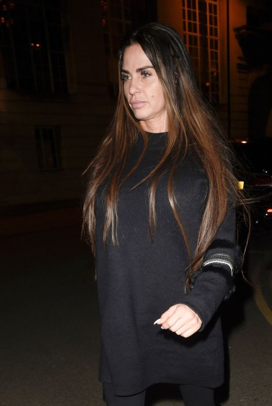 KATIE PRICE Out for Dinner in Manchester 02/15/2018