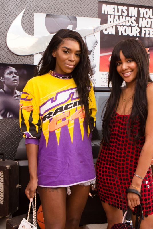 KEIANNA TALTON and BRITTANY HAMPTON at Revolve x Nike 1s Reimagined Pop-up Event in Los Angeles 02/16/2018