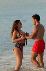KELLY BROOK in Bikini and Jeremy Parisi at a Beach in Antigua 02/07/2018
