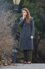 KERI RUSSELL on the Set of The Americans in New York 02/15/2018