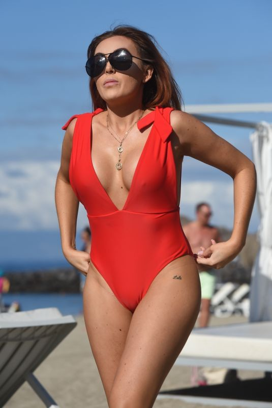 LAURA SIMPSON in Swimsuit at a Beach on Canary Islands 02/22/2018