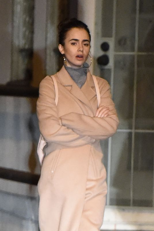 LILY COLLINS at La Dolce Vita Restaurant in Beverly Hills 02/05/2018