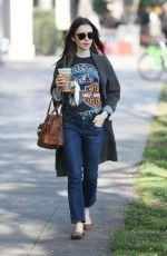 LILY COLLINS Leaves Starbucks in West Hollywood 02/06/2018