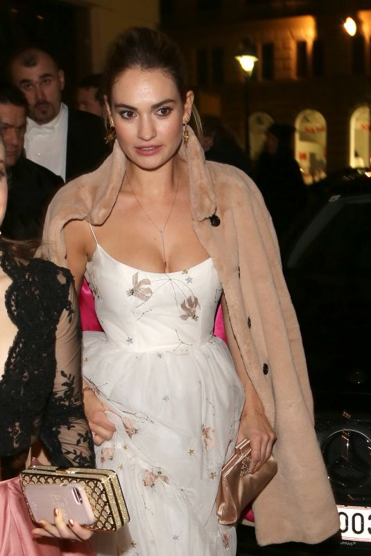 LILY JAMES Leaves Her Hotel in Vienna 02/08/2018