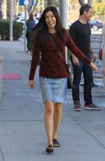 LISA LING in Denim Skirt Out for Lunch in Beverly Hills 02/09/2018