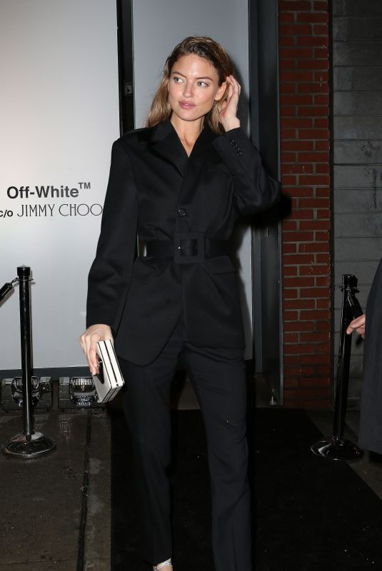 MARTHA HUNT Leaves Jimmy Choo + Off-white Event in New York 02/11/2018