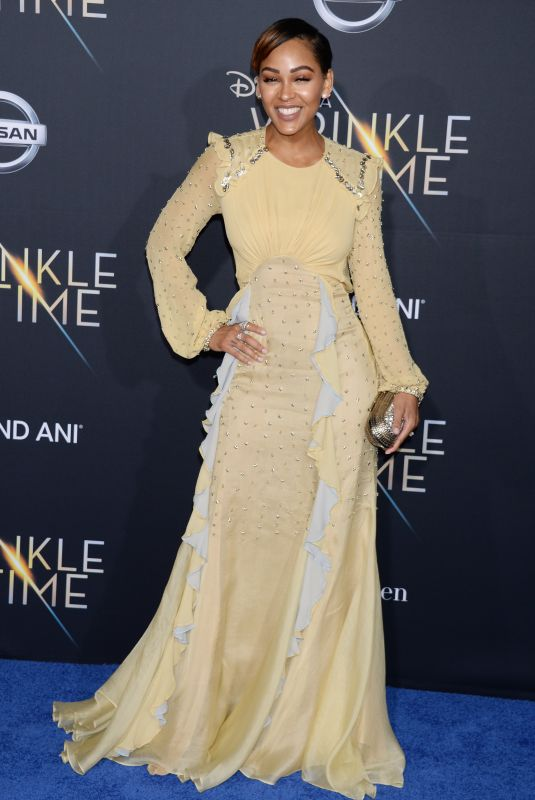 MEAGAN GOOD at A Wrinkle in Time Premiere in Los Angeles 02/26/2018