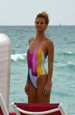 NADINE LEOPOLD in Swimsuit on the Set of a Photoshoot at a Beach in Miami 02/06/2018