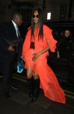 NAOMI CAMPBELL at Mnky Hse in London 02/19/2018