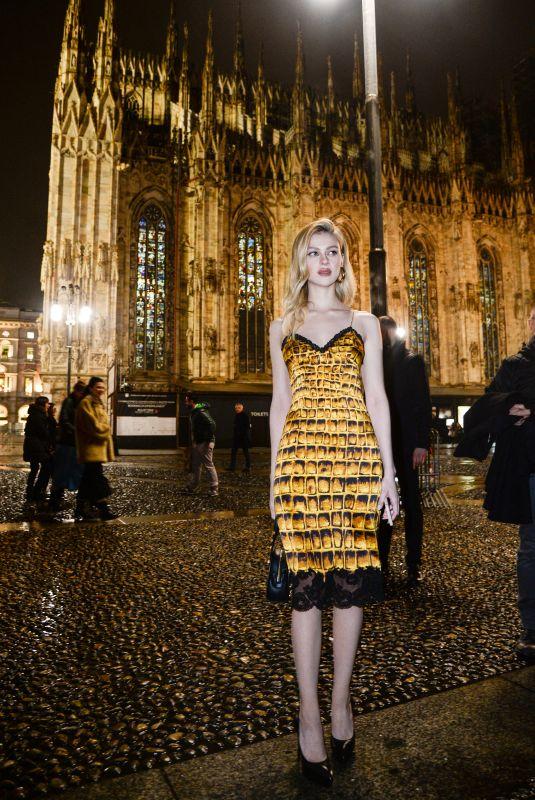 NICOLA PELTZ Arrives at Versace Fashion Show in Milan 02/23/2018