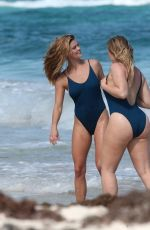 NINA AGDAL and ISKRA LAWRENCE in Swimsuits for AerieReal Beach Photoshoot in Tulum 02/21/2018