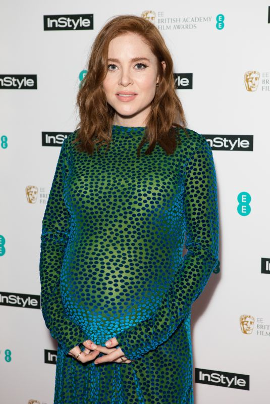 Pregnant ANGELA SCANLON at Instyle EE Rising Star Baftas Pre-party in London 02/06/2018