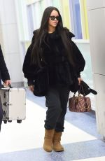 RIHANNA Arrives at JFK Airport in New York 02/16/2018