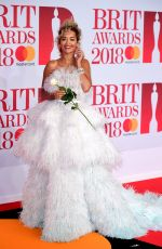 RITA ORA at Brit Awards 2018 in London 02/21/2018