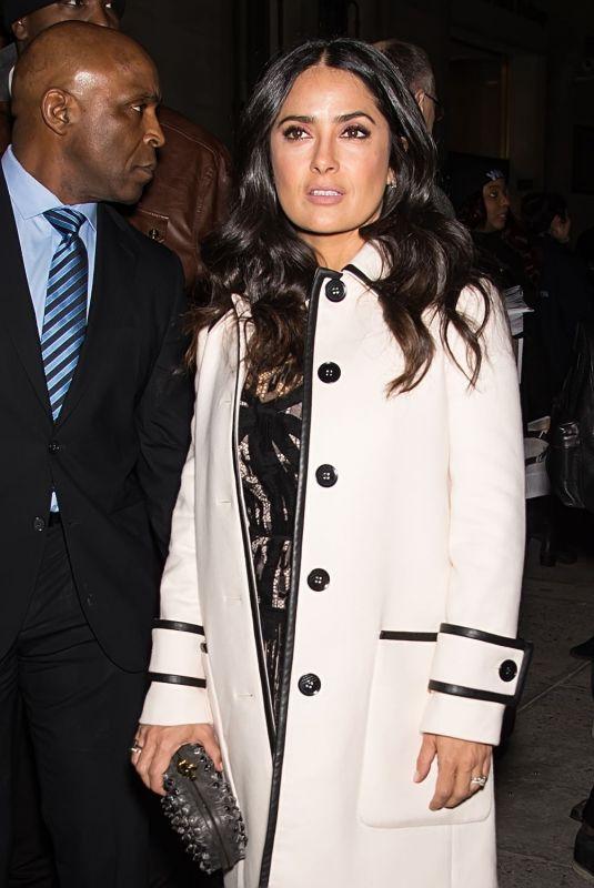 SALMA HAYEK Leaves Bottega Veneta Fashion Show in New York 02/09/2018