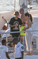SELENA GOMEZ and Justin Bieber at a Yacht in Jamaica 02/22/2018
