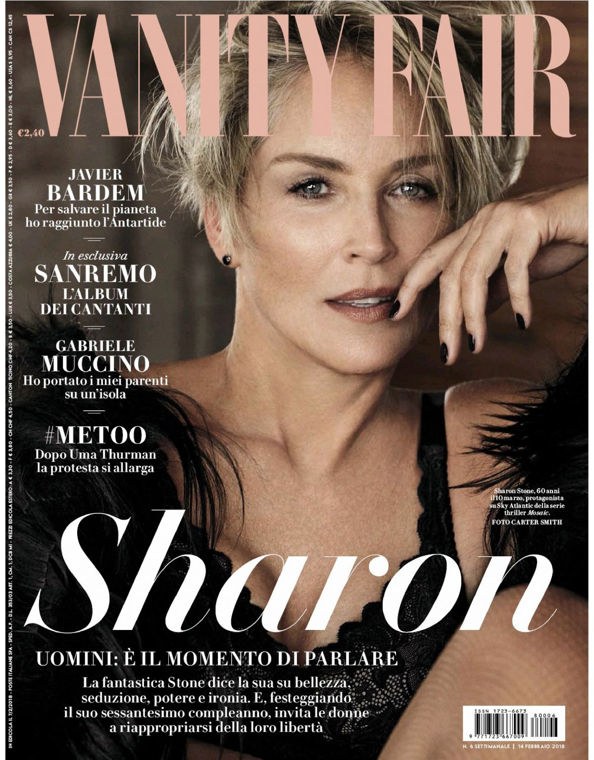 Lovely SHARON STONE In Vanity Fair Magazine, February 2018 Issue