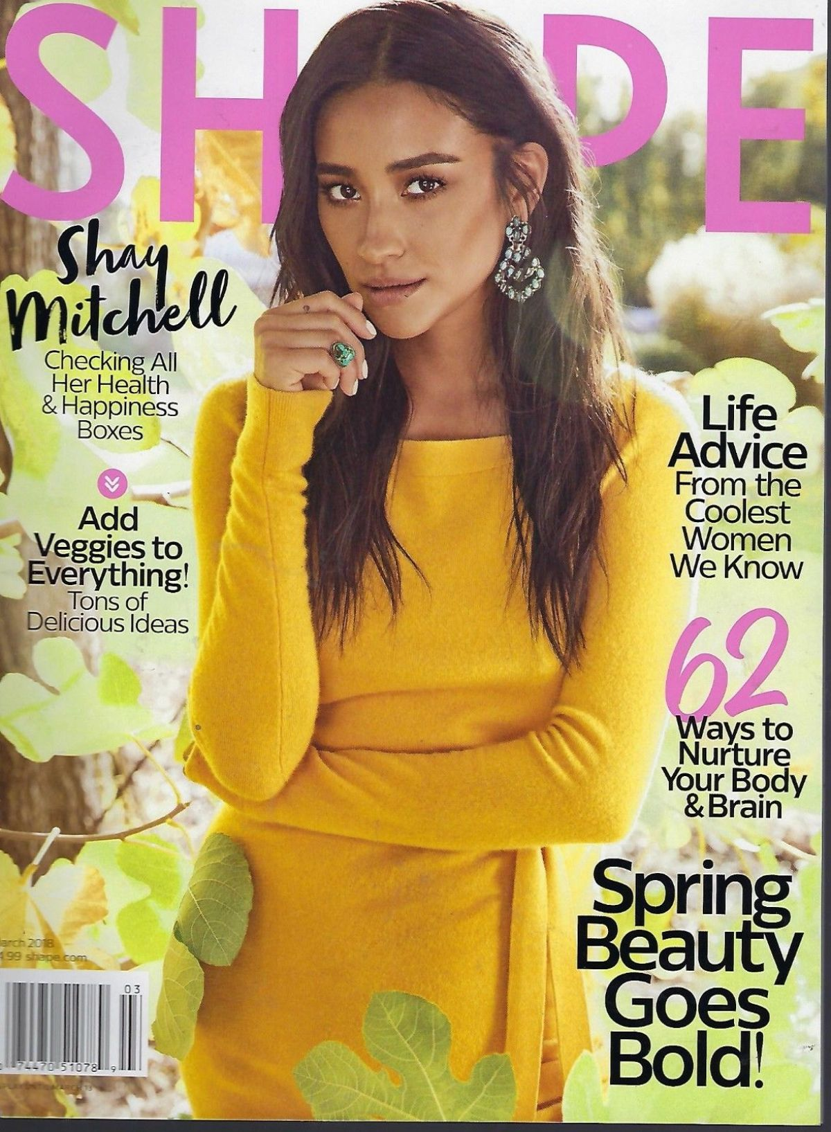 SHAY MITCHELL on the Cover of Shape Magazine, March 2018