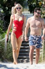 SOFIJA MILOSEVIC in Bikini and Adem Ljajic on the Beach in Miami 02/14/2018