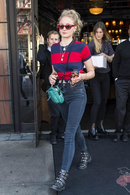 SOPHIE TURNER Leaves Her Hotel in New York 02/21/2018