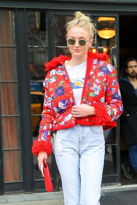 SOPHIE TURNER Leaves Her Hotel in New York 02/24/2018
