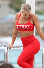 TAMMY HEMBROW in Tights on the Set of a Photoshoot at Bondi Beach 02/02/2018
