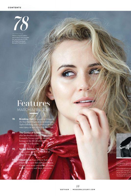 TAYLOR SCHILLING in Gotham Magazine, Spring/Summer 2018 Issue