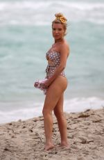 TRACY ANDERSON in Swimsuit on the Beach in Miami 02/23/2018