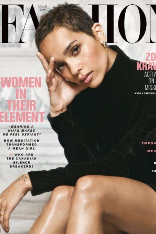 ZOE KRAVITZ in Fashion Magazine, March 2018