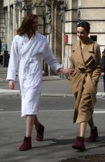 ALEXINA GRAHAM and LUMA GROTHE Shooting for L'Oreal at Carreaux Du Temple in Paris 03/26/2018