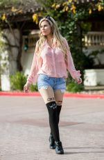 ANA BRAGA in Denim Shorts Out in Los Angeles 03/09/2018