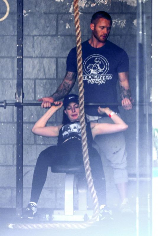 ANNE HATHAWAY at a Gym in West Hollywood 03/26/2018