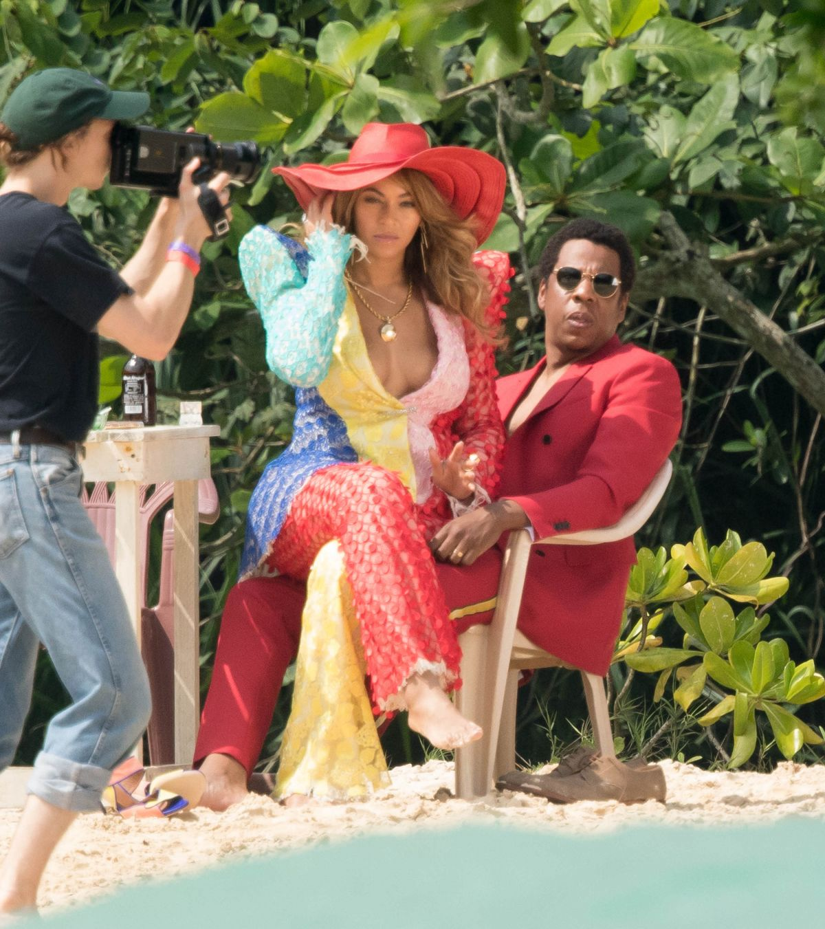 BEYONCE and Jay-Z on the Set of a Video at a Beach in