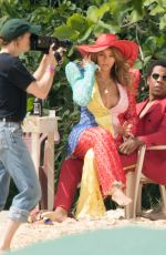 BEYONCE and Jay-Z on the Set of a Video at a Beach in Jamaica 03/22/2018
