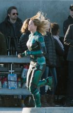 BRIE LARSON on the Set of Captain Marvel in Los Angeles 03/19/2018