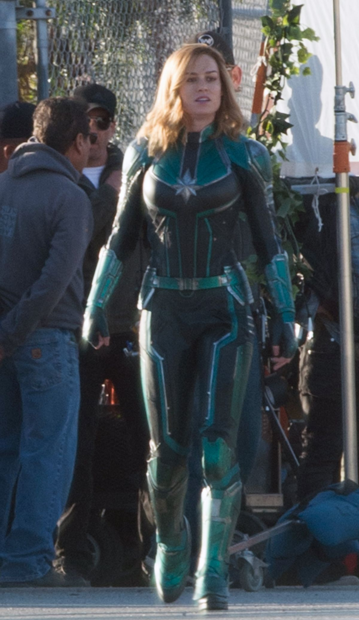 BRIE LARSON On The Set Of Captain Marvel In Los Angeles 03